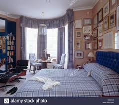 Pink Bedroom Curtains Blue Checked Bedlinen And Matching Curtains In Traditional Pink