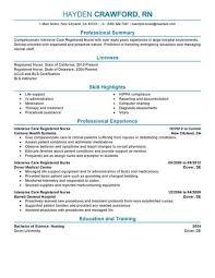 Registered Nursing Resume Best Intensive Care Nurse Resume Example Livecareer
