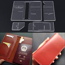 handmade diy passport holder long wallet template clear acrylic leather pattern leathercraft 20x10x2cm