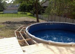 Square Above Ground Pool With Deck Above Ground Pool Deck Ideas