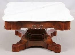 lot 08 17 2018 empire style carved burl mahogany marble top coffee table 36 36 20
