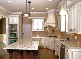 White Kitchen With Granite Antique White Kitchen Cabinets With Dark Island