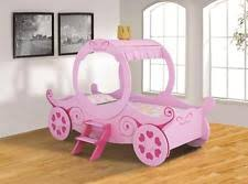 Girls kids princess carriage bed frame in pink-wood 3ft single- mattress  options
