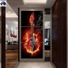 image is loading flaming rock music guitar canvas wall art multi  on guitar canvas wall art red with flaming rock music guitar canvas wall art multi panel picture print