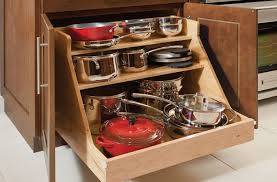 Simple Kitchen Ideas with Wooden Base Roll Out Pots Pans Organizer, 3  Shelves Storage Workspace