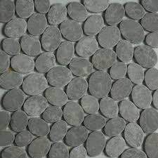 Cobblestone Kitchen Floor Dark Grey Sliced Stone Pebble Mosaic Tile Wall Floor Kitchen