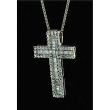 18ct white gold chain and diamond cross pendant