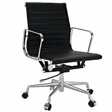 eames inspired office chair. Eames Office Chair Ribbed Mid Low Back Aluminum Group Reproduction Leather Black Inspired .
