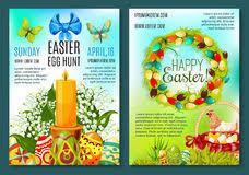 easter egg hunt template easter day egg hunt poster template design stock vector