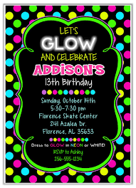 free 13th birthday invitations neon party invitations neon glow birthday party invitations kids