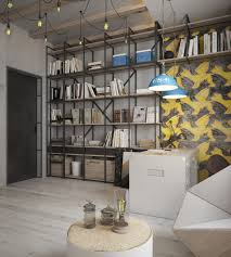 wooden boards book wooden crates wooden round table geometrical chair metal office desk hanging bulbs twin blue hanging lamps oversized wall artwork