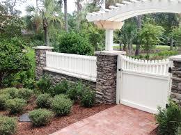 white fence. Brick-walkway-with-white-fence White Fence