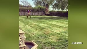 Jodie Marsh strips NAKED and runs around her garden to celebrate.