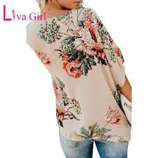 2019 <b>Liva Girl Casual Summer</b> Amaryllis Floral Print Blouses And ...
