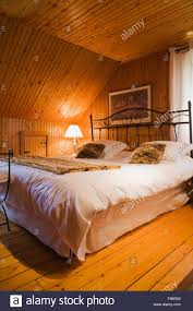 wrought iron bedroom furniture. Modren Furniture Bed With Wrought Iron Headboard In The Guest Bedroom On Upstairs Floor  Inside A 1920s Cottage Style Old Home Quebec Canada On Wrought Iron Bedroom Furniture