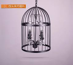 iron birdcage hanging lamp crystal pendant ceiling lighting