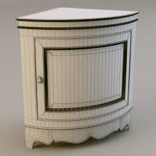 Captivating Wedgee Shaped Vintage Corner Nightstand With Pixel Pattern