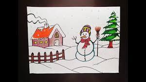 How to draw easy <b>winter</b> season <b>scenery</b>   <b>Scenery</b> Drawing ...