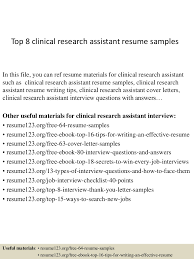 Research Assistant Resume Examples Top224clinicalresearchassistantresumesamples224conversiongate224thumbnail24jpgcb=124222455717224 18