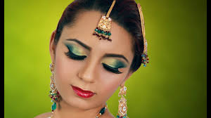 jade green gold indian bridal makeup tutorial asian arabic stani contemporary wedding look