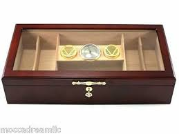 cherry countertop acrylic commercial display 150 cigar humidor large hygrometer