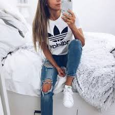 adidas girls. boyfriend jeans and adidas top - love this outfit girls