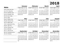 Yearly Calendar 2018 Yearly Printable Calendar