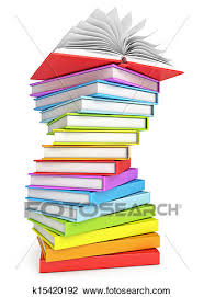 clip art stack of books with open book on the top fotosearch search