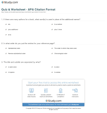 Quiz Worksheet Apa Citation Format Studycom