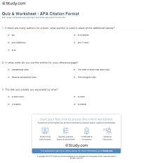 Quiz Worksheet Apa Citation Format Studycom