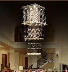 Großhandel Moderne Quadratische Led Kristall Kronleuchter Beleuchtung Treppe Regentropfen Deckenleuchte Für Flur Treppe Foyer Wohnzimmer Von