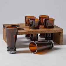 beer bottle shot glasses and display tray bsg d6 01