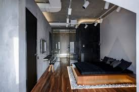 funky track lighting. Cozy Platform Bed With White Gravel Covered Area Idea Feat Natural Wooden Floor And Funky Bedroom Track Lighting