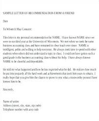 Job Recommendation Letter Sample For A Friend Letter Of Recommendation Format Phenomenal For Job Proper