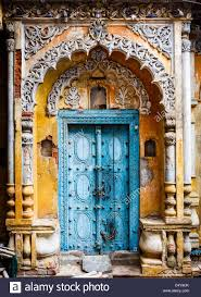 a beautiful old door of a palace in the old town of lucknow stock image