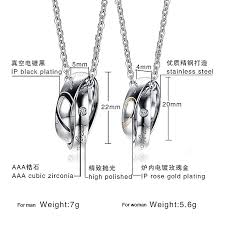new stainless steel simple couple pendant necklace valentine s day gifts mixed cn 085