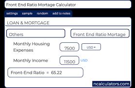 Front End Ratio Mortage Calculator