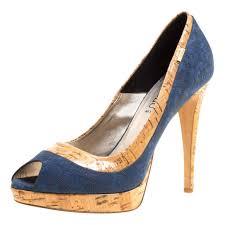 loriblu blue beige suede and cork print patent leather platform pumps size 40 for