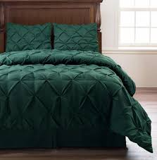 simple bedroom with pinched pleat comforter set dark green king