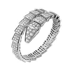 aaa bvlgari serpenti bracelet white gold single helix covered with diamonds br855231 replica
