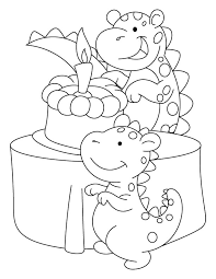 Small Picture Dinosaur celebrating his birthday coloring pages Download Free