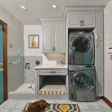 Laundry room office design blue wall Chic Midsized Elegant Singlewall Porcelain Floor And Gray Floor Utility Room Photo In Houzz 75 Most Popular Laundry Room Design Ideas For 2019 Stylish Laundry