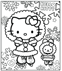 Coloring Pages Kid Hello Kids Coloring Pages Hello Kitty On Snow