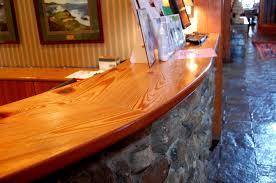 heart pine reception desk counter top half round curved edge in bristol harbour resort