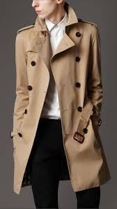 burberry london men cotton gabardine mid length trench coat