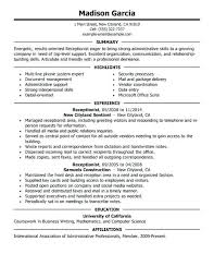 Sample Resume For Receptionist Position Best Of Sample Resume For Receptionist Choose From Multiple Template Options