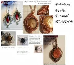 tutorial bundle the fabulous five intermediate to advanced wire wrapping jewelry patterns earrings pendants ring and bracelet
