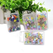 100X Patchwork Pins Flower Button Head Pin DIY Quilting Tool ... & Image is loading 100X-Patchwork-Pins-Flower-Button-Head-Pin-DIY- Adamdwight.com
