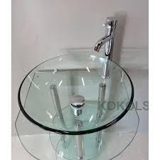 glass bathroom vessel sink vanity pedestal bowl