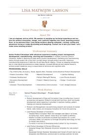 Product Development Manager  Private Brand Resume samples